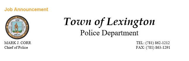 Lexington Police Department, MA Police Jobs