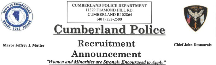 Cumberland Police Department, RI Police Jobs