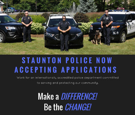 Staunton Police Department, VA Police Jobs