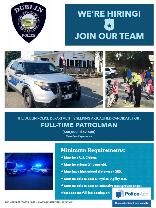 Dublin Police Department, NH Police Jobs